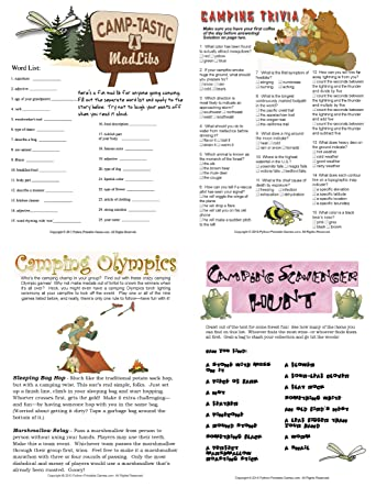 photograph regarding Camping Mad Libs Printable referred to as : Printable Tenting Online games Pack [Obtain]: Computer software