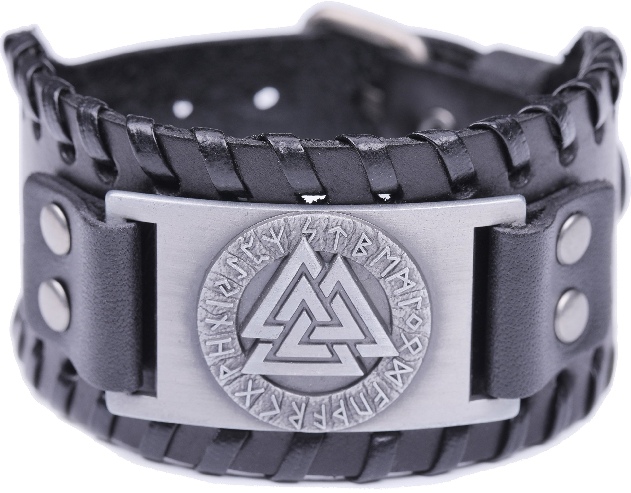 VASSAGO Vintage Wicca Odin's Symbol of Norse Viking Warriors Valknut Viking Runes Charm Cuff New-style Belt Buckle Bracelet (Black Leather, Antique Silver)