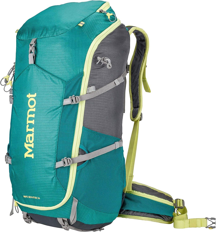 Marmot Women's Graviton 36 Lightweight Hiking Backpack, Gem Green/Cinder, One-Size