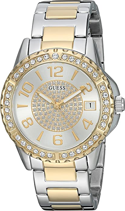 GUESS Womens Silver and Gold-Tone Crystal Accent Watch