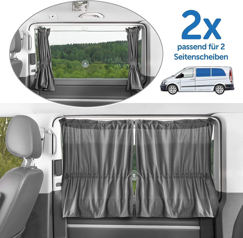 Zamboo - 2X Cortina Universal Protección Solar Furgonetas/Multivan (p. ej. VW T4,T5, Mercedes Vito) - Parasol para Ventanas Laterales - Fácil Montaje con Ventosas - Gris: Amazon.es: Coche y moto