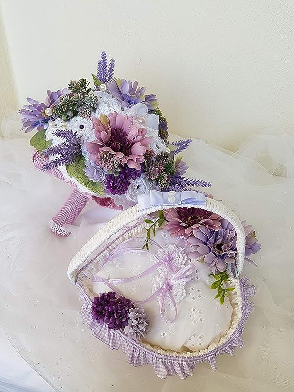 Bouquet Sposa Uncinetto.Bouquet Da Sposa Portafedi Cestino Shabby Chic Promessa Di