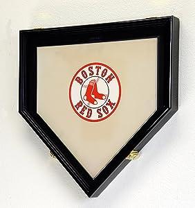 Full Size Baseball Home Plate Base Display Case Cabinet Shadowbox Holder 98% UV (Black Finish)