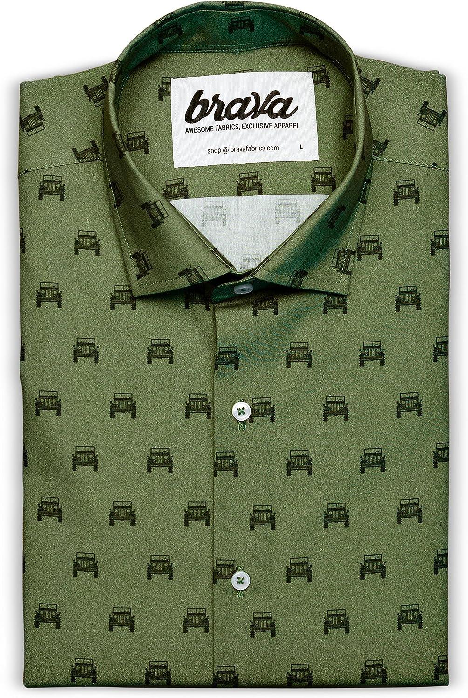 Brava Fabrics | Camisa Hombre Manga Larga Estampada | Camisa Verde para Hombre | Camisa Casual Regular Fit | 100% Algodón | Modelo Willys Adventure: Amazon.es: Ropa y accesorios