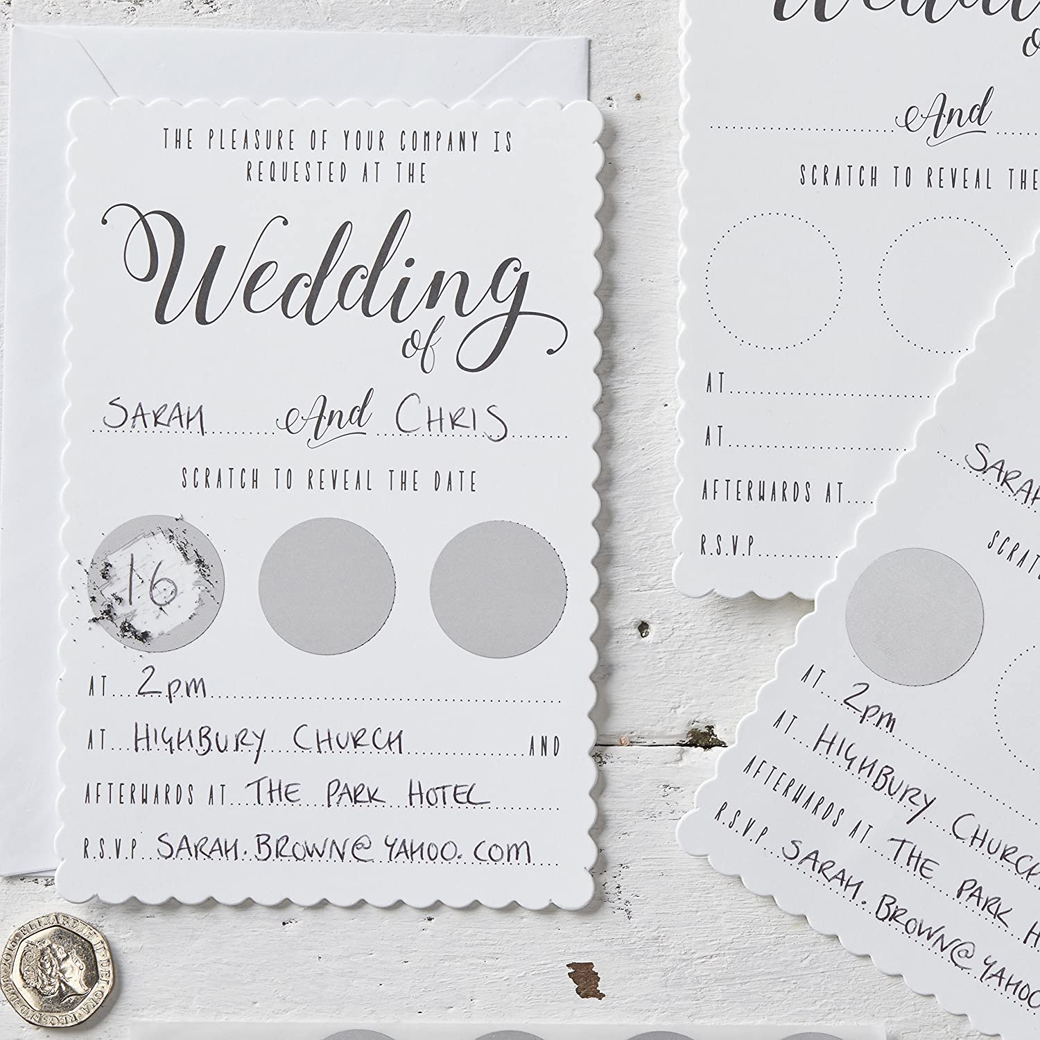 Ginger Ray White Silver Scratch To Reveal Unique Wedding Invitations 10 Pack Amazon Co Uk Toys Games