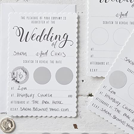 Unquie Wedding Invitations.Ginger Ray White Silver Scratch To Reveal Unique Wedding Invitations 10 Pack Scratch Cards