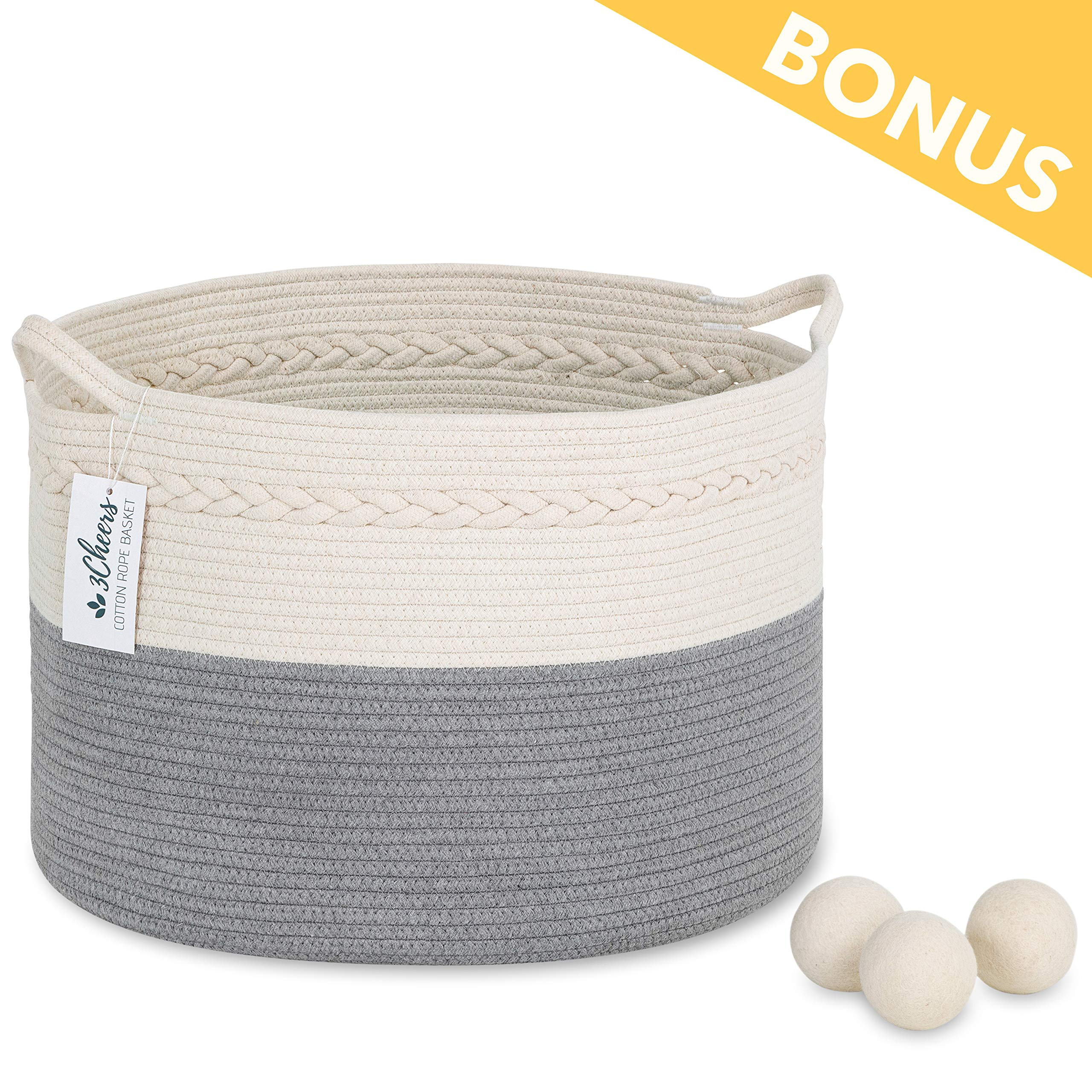 3Cheers Cotton Rope Storage Basket XXL 21'' X 13''| Extra Large Woven Storage Baby Nursery Laundry Basket with Handle | Blanket Basket for Living Room | Large Wicker Basket for Kids Toy | Laundry Hamper by 3Cheers
