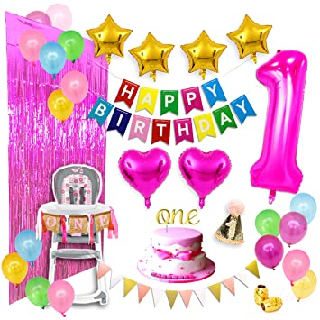 Baby Girl First Birthday Party Decorations Mega Set