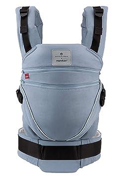 manduca XT Baby Carrier > Bellybutton SoftCheck blue < Mochila Portabebe, Asiento Ajustable, 3 Posiciones, Algodon Organico, no se Necesitan Accesorios, ...
