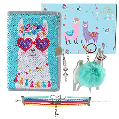 HH Family Unicorn Llama Girls Diary Writing Journal Notebook with Matching Bracelet and Fur Ball Key Chain (Llama F): Office Products