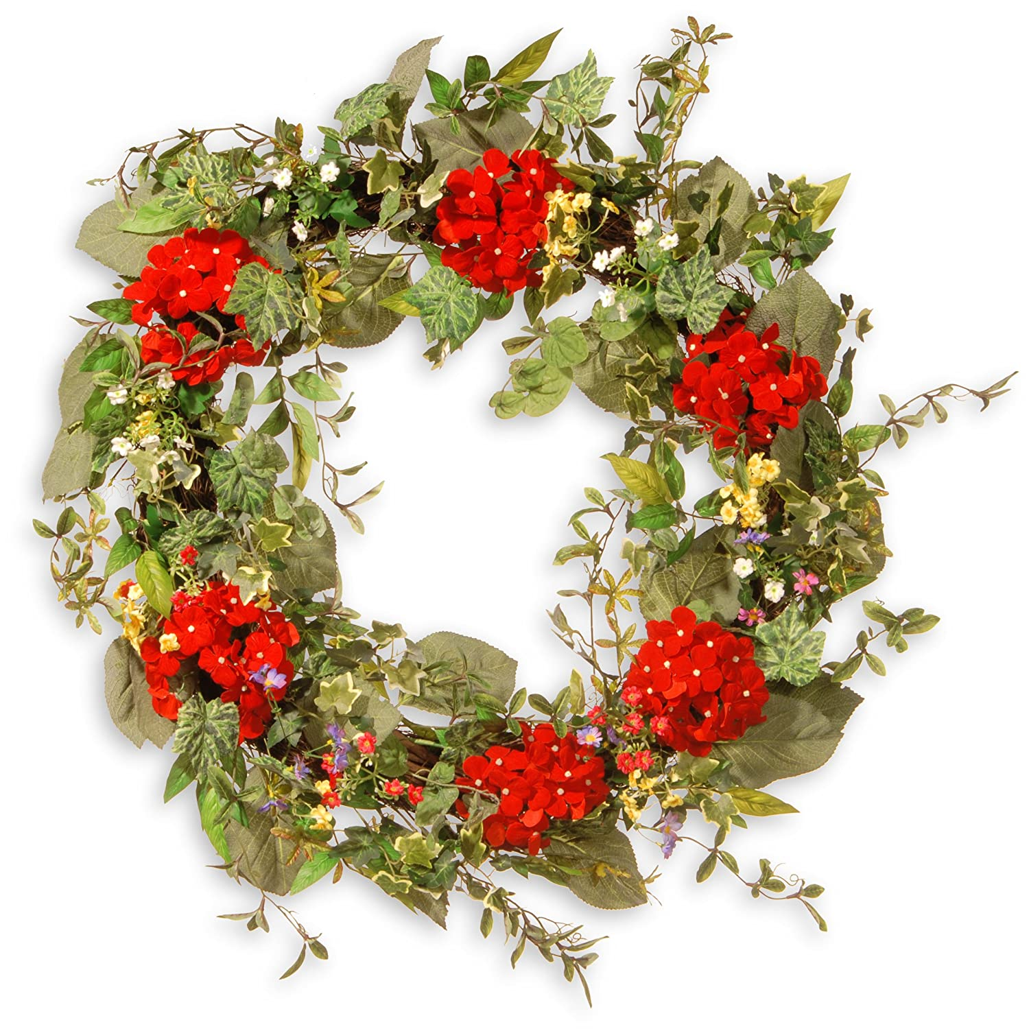 Nationalツリー会社32で。Mixed Flower Spring Wreath 25-36 inches グリーン RAS-AW030225A B01L2T1C2W グリーン