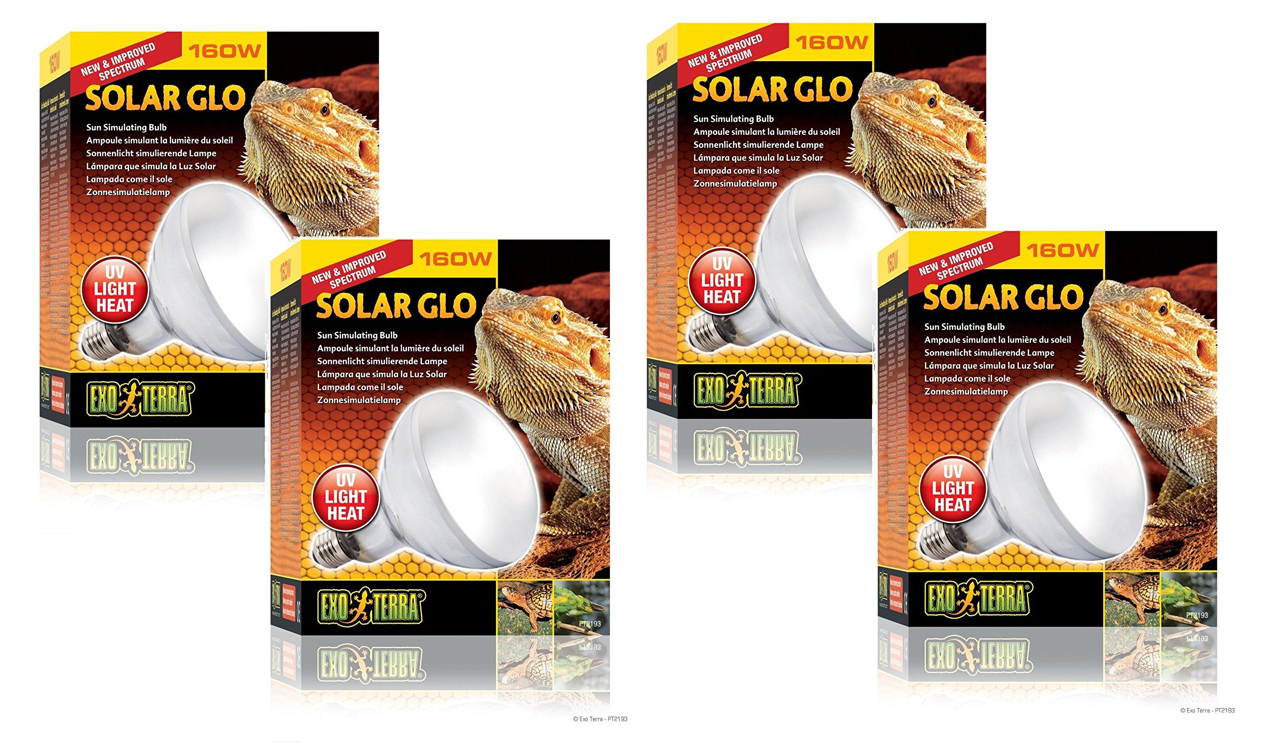 (4 Pack) Exo Terra Solar-Glo High Intensity Self-Ballasted Uv/Heat Mercury Vapor Lamp, 160 Watt