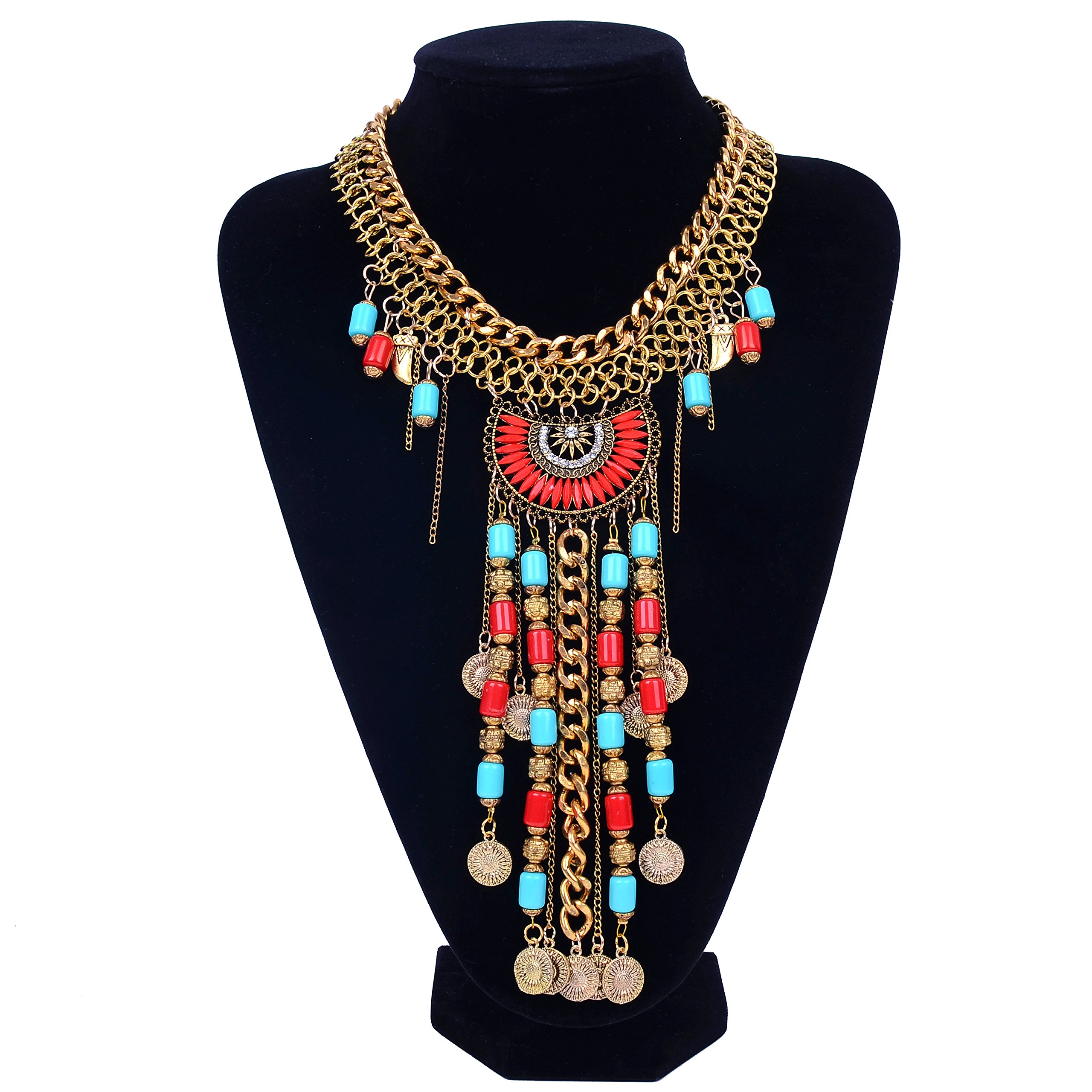 Paxuan Womens Antique Silver/Gold Alloy Vintage Long Boho Bohemia Turquoise Necklace Ethnic Tribal Beads Coin Fringe Statement Necklace Bohemian Style (Antique Gold)