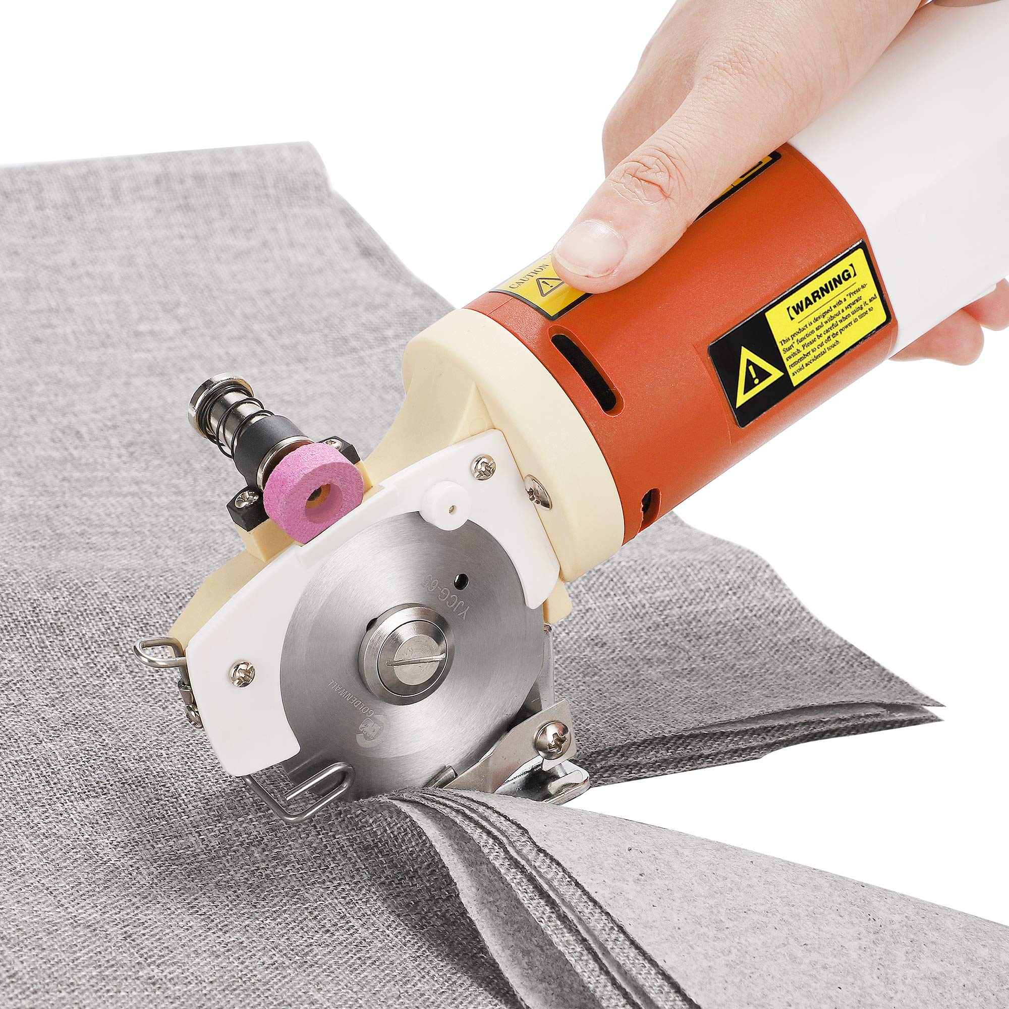 CGOLDENWALL YJ-65 Electric Rotary Fabric Cutter Scissors Cloth Cutting Machine Blade Size: 65mm Maximum Cutting Thickness: 22mm Ideal for Multi-Layer Clothing Textile Leather Paper with Spare Blade