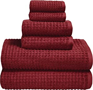 GLAMBURG 100% OEKOTEX Organic Cotton 6 -Piece Towel Set, GOTS Certified, Contains 2 Oversized Bath Towels 30x54, 2 Hand Towel 16x28, 2 Wash Cloth 12x12, Absorbent and Eco-Friendly - Burgundy Red