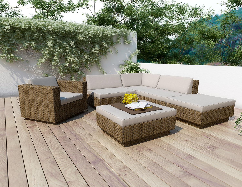 amazoncom sonax z373tpp park terrace 6piece sectional patio set patio lounge chairs patio lawn u0026 garden - Sectional Patio Furniture