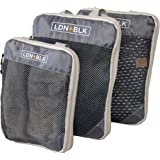 Packing Cubes for Travel - Set of 3 Compression Packaging Cube Travel Bags - Best Travel Essentials for Organized Luggage