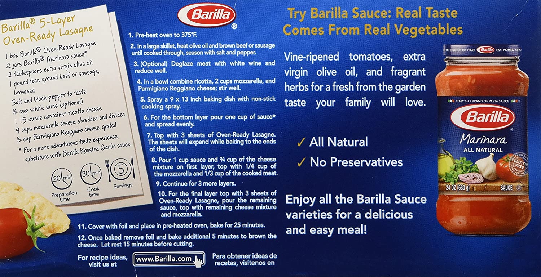Amazon Com Barilla Pasta Lasagna Oven Ready 9 Ounce Lasagna Grocery Gourmet Food