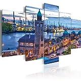 Bilder 200x100 cm - XXL Format - Fertig Aufgespannt – TOP - Vlies Leinwand - 5 Teilig - Wand Bild - Kunstdruck - Wandbild - Hamburg 030221-1 200x100 cm B&D XXL murando