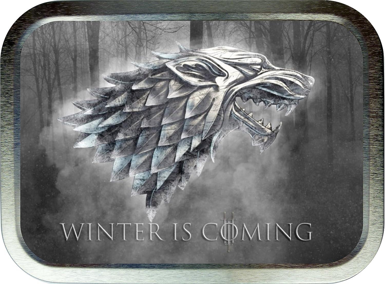 WINTER IS COMING,STARK 2oz SILVER TOBACCO TIN,GIFT BOX Noveltyshack