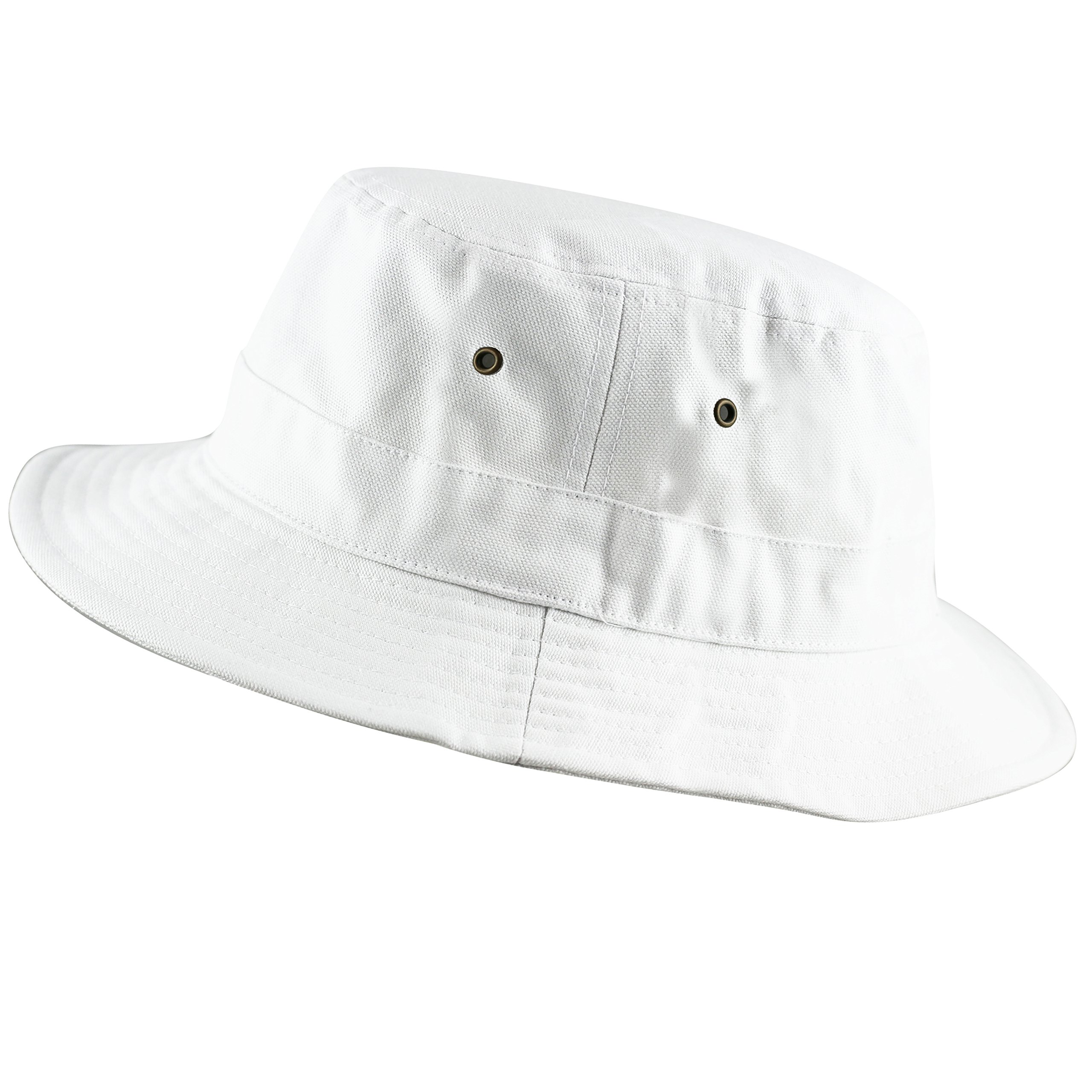 THE HAT DEPOT 100% Cotton Canvas Packable Summer Travel Bucket Hat (S/M, White)