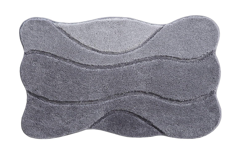 Grund Badteppich 100% Polyacryl, ultra soft, rutschfest, ÖKO-TEX-zertifiziert, 5 Jahre Garantie, CURTS, Badematte 80x140 cm, grau