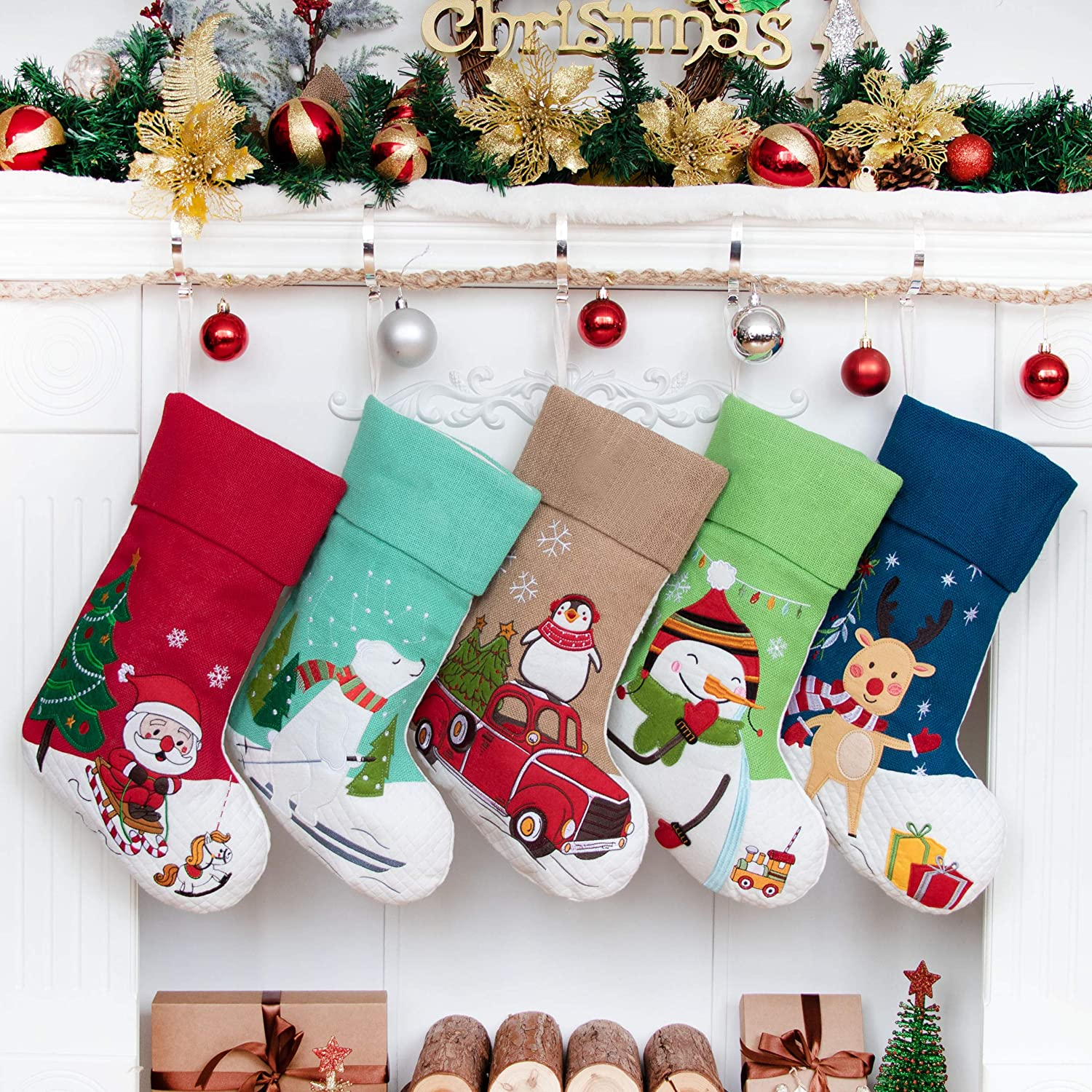 Embroidered Linen Applique Burlap Fireplace Hanging Christmas Ornament for Family Decorations Holiday Xmas Gift LUBOTS 2020 New 4 Pack Christmas Stockings 21inch