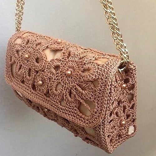 Amazoncom Women Crochet Shoulder Bag Macrame Cordon Beige Color