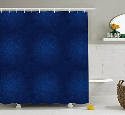 Lunarable Royal Blue Shower Curtain Vintage Floral Classic Swirls Traditional Model Effects Rococo Stylish Design