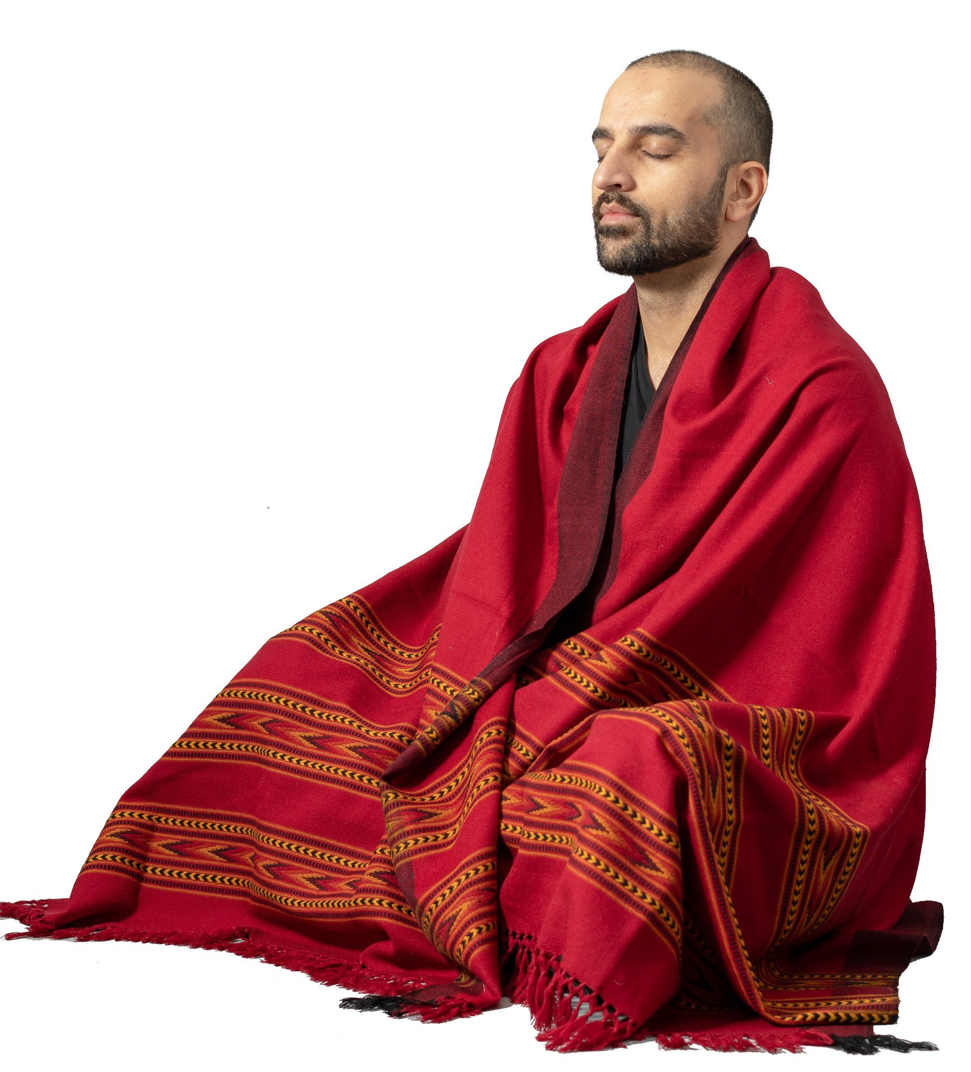 Meditation Shawl by Om Shanti Crafts | Prayer Shawl, Buddha Blanket, Oversize Scarf Wool Wrap to Strengthen Your Daily Meditation, Unisex (Extra Large 7.5'x3.5') (Red)