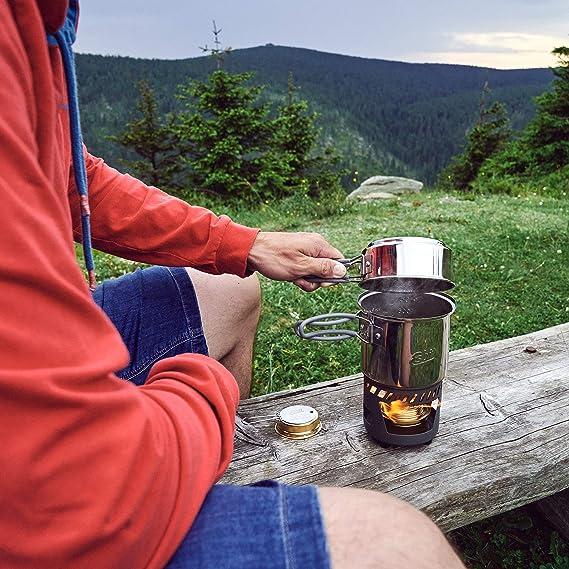 Esbit Cocina con Quemador de Alcohol | Tamaño Compacto | Olla Grande y pequeña | Camping, mochilero, Senderismo | Cocina al Aire Libre