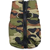 DroolingDog Dog Camo Waterproof Jacket with Harness Camouflage Costume for Small Dogs