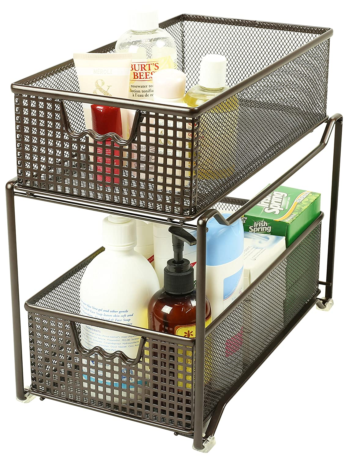 Uncategorized Sliding Basket Organizer amazon com decobros two tier mesh sliding cabinet basket organizer drawer bronze home kitchen