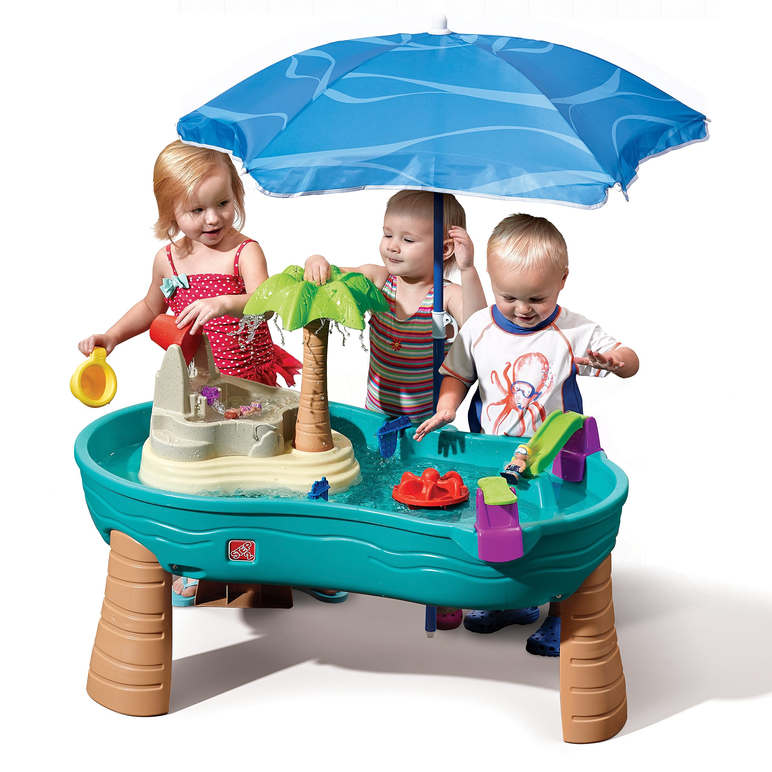 Step2 Splish Splash Seas Water Table | Kids Water Table with Umbrella & 10-Pc Accessory Set by Step2