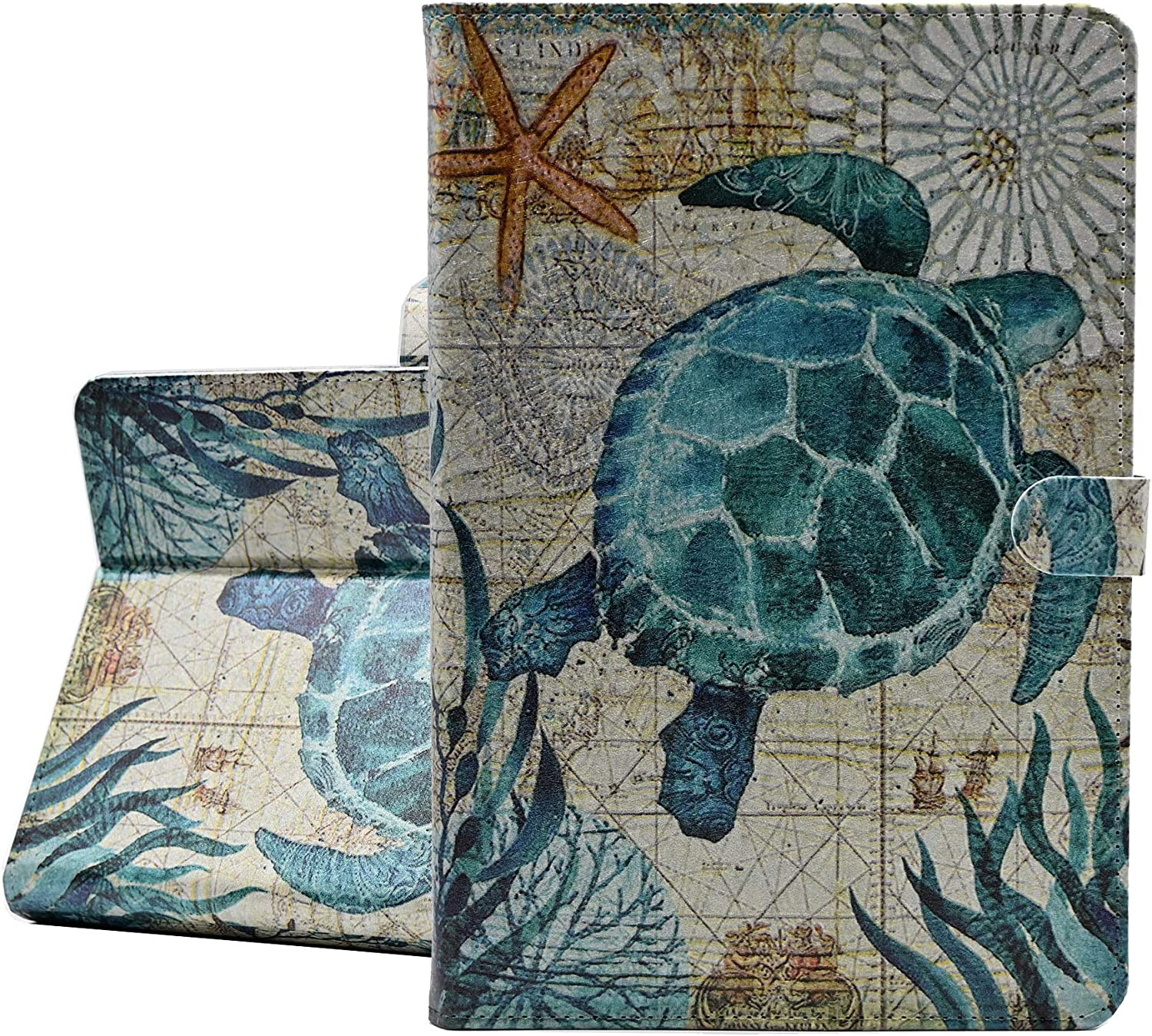 YHB iPad 10.2 Case 2020 iPad 8th Gen/2019 iPad 7th Gen,Ocean Theme Leather Flip Multi-Angle Viewing Slim Stand Protector Cover for iPad 10.2 Inch,Sea Turtle