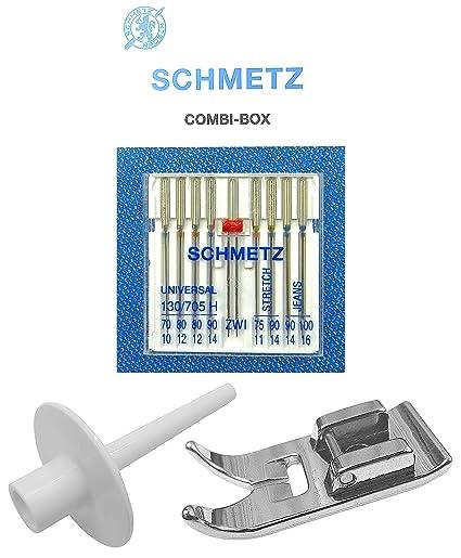 ZickZackNaehmaschine Schmetz Agujas Combi de Caja + Soporte ...