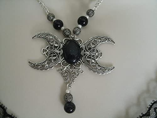 Triple Moon Goddess Necklace wiccan necklace pagan necklace wicca necklace goddess jewelry witch witchcraft pagan jewelry wiccan jewelry