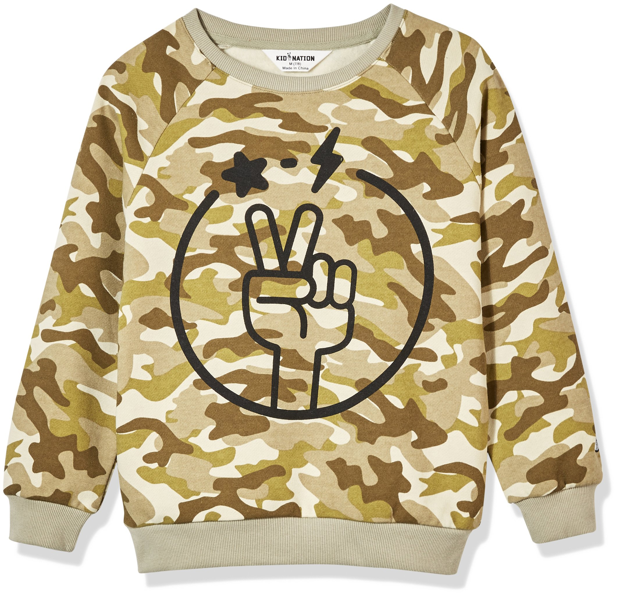 Kid Nation Kids' Allover Printed Graphic Camo Pullover Sweatshirt for Boys Or Girls S Olive
