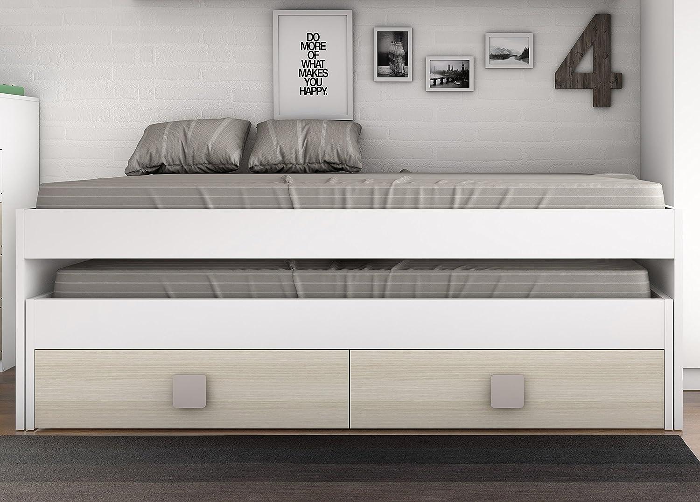 Cama infantil blanca dormitorio infantil con muecos en la cama de madera blanca u foto de stock - Cama nido blanca con cajones ...
