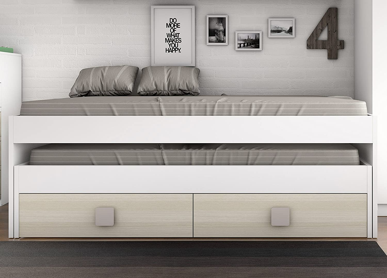 Cama infantil blanca pack camas infantilies dormitorio for Cama nido con cajones blanca