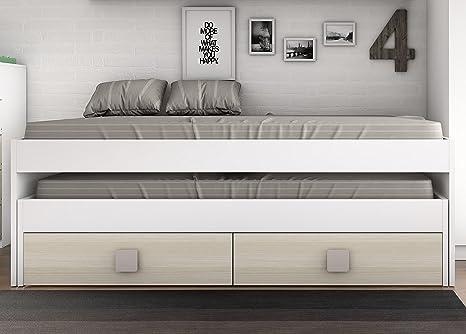 Abitti Cama Nido Blanca con 2 cajones Color Haya para Dormitorio Juvenil. 204x100x68cm