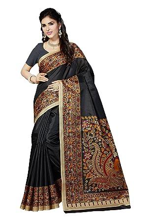 88e51cee5 Rani Saahiba Art Silk Saree with Blouse Piece (SKR3065 Black One Size)