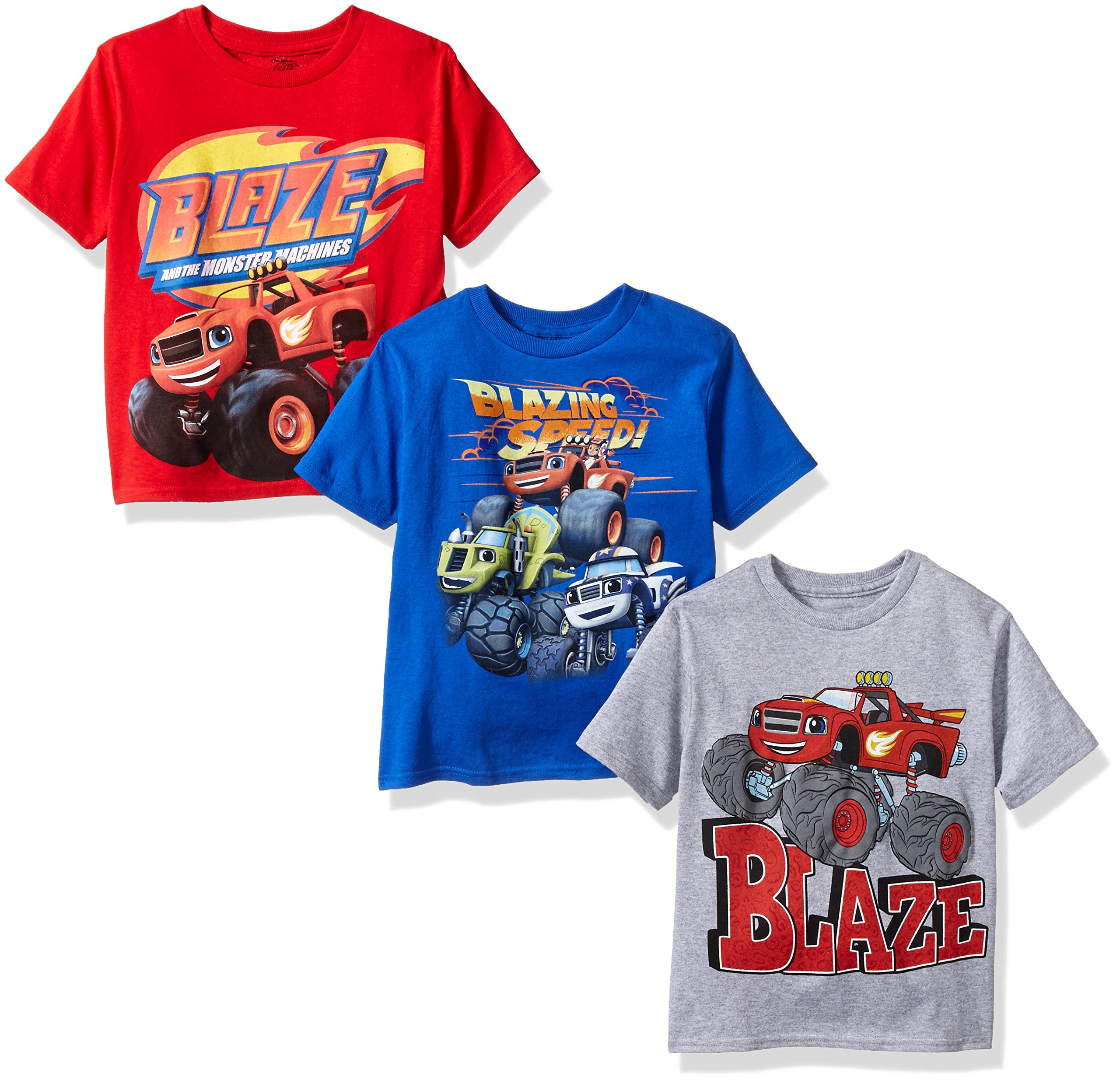 Nickelodeon Boys' Blaze and Monster Machines 3 Pack T-Shirt Bundle