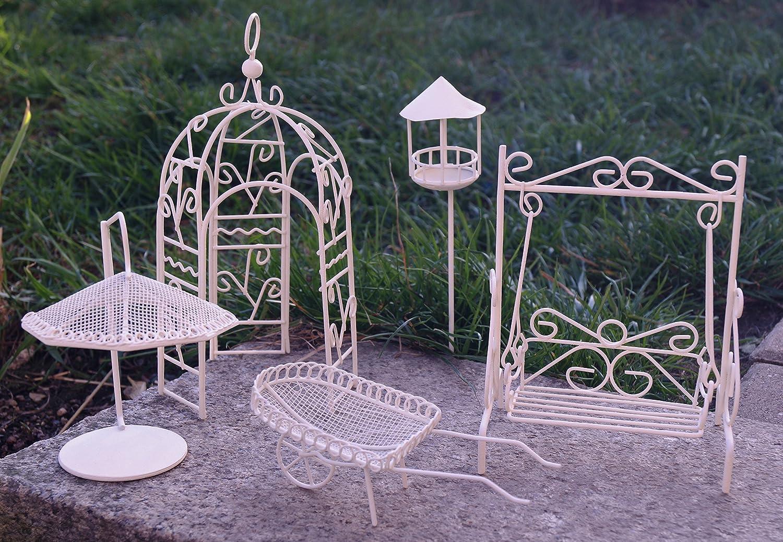 Metall Miniatur Gartenmöbel Set 5 tlg. weiß Mini Garten Dekoration ...