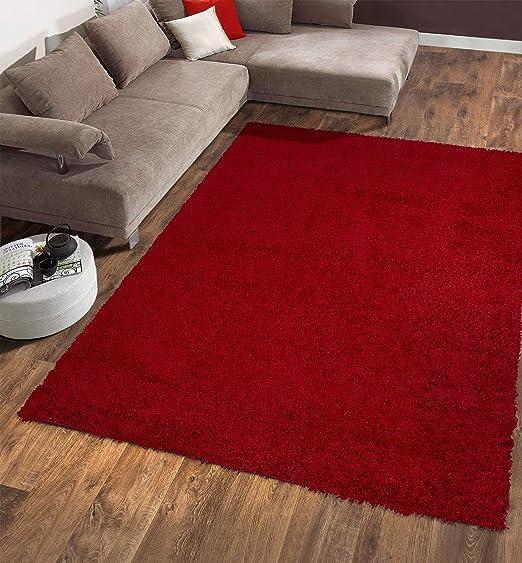 Amazon Com Ottomanson Shg2760 5x7 Solid Shag Rug 5 X 7 Red Home Kitchen