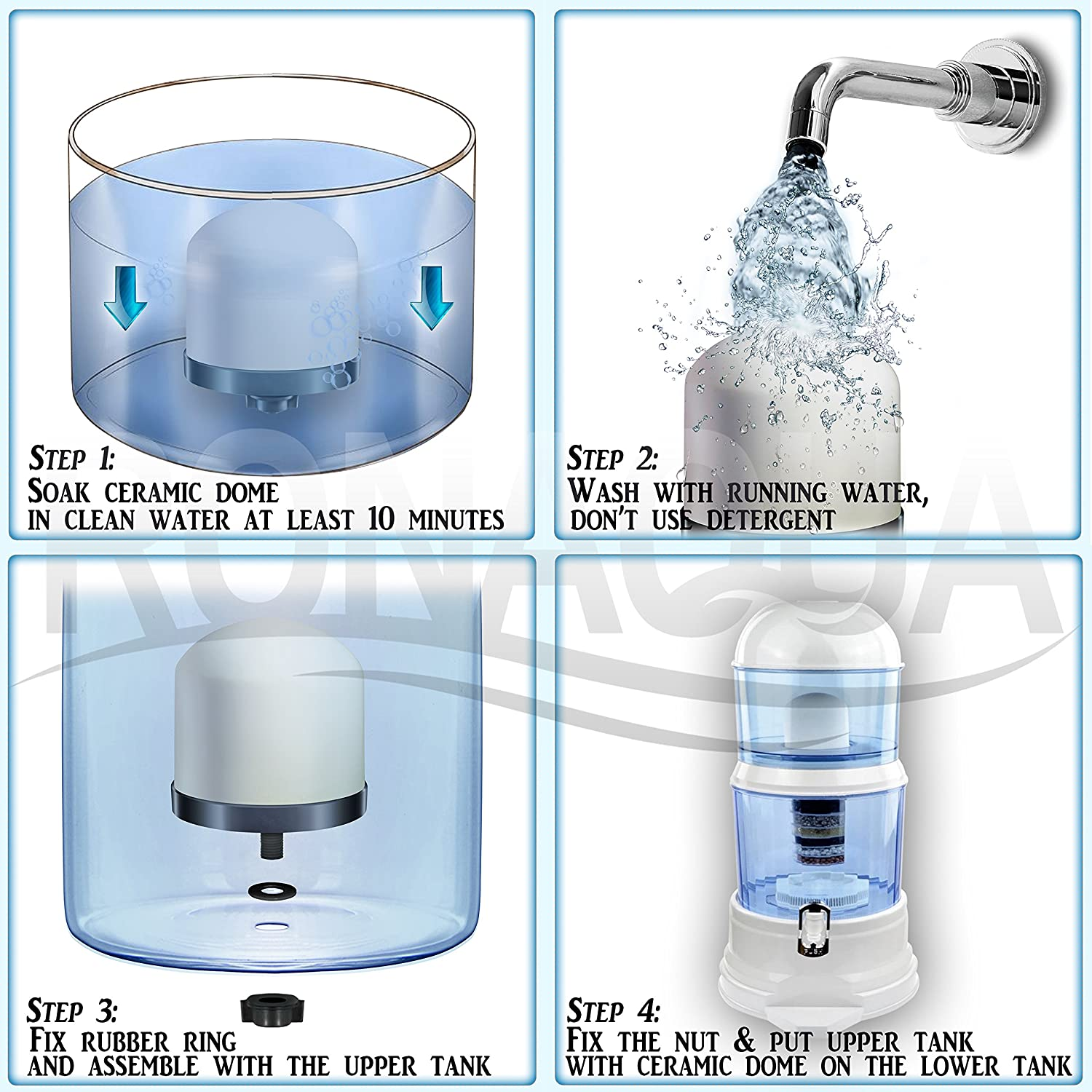 Replacement Ceramic Dome Water Filter 0.2 to 0.5 micron for Zen Countertop & Water Coolers. First Stage of Filtration, Traps all Impurities: Kitchen & Dining
