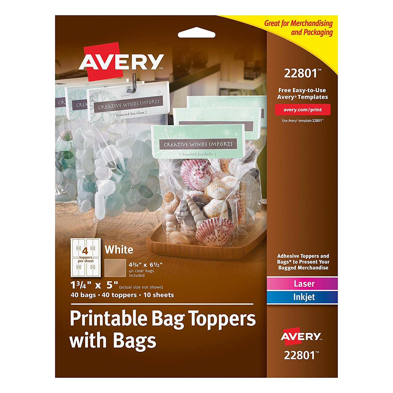 amazoncom avery printable bag toppers with bags pack of 40 all purpose labels office products