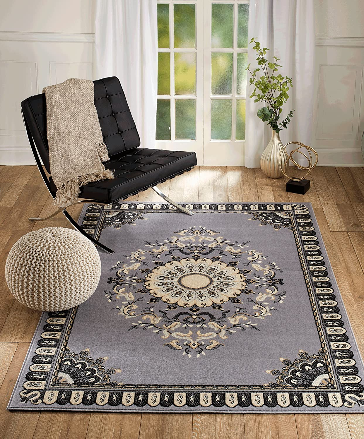 New Chateau S2 Grey Black Oriental Persian Style Area Rug (2X3 Scatter MAT/Actual Size is 22 INCH X 35 INCH) CHATEAU RUGS CHTU#02gray/2X3
