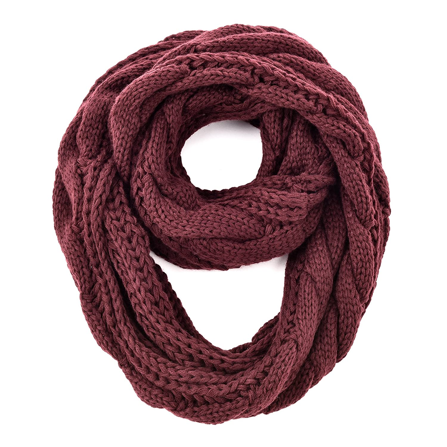 RiscaWin Women Knit Winter Infinity Scarf Warm Thick Neckerchief Circle Loop (WineRed)