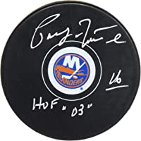 $80 » Pat LaFontaine Signed New York Islanders Logo Hockey Puck w/HOF'03 - Autographed NHL Pucks